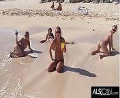 Six Horny Lesbians Go At It On A Public Beach from মাহিয়া মাহি ভিডিও six